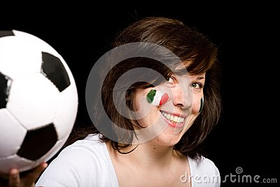 Young female italian soccer team fan isolated