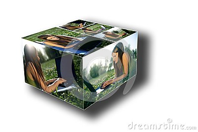 Young female with laptop box collage
