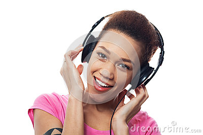 Young female listening to music