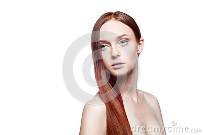 Young female with long straight natural red hair