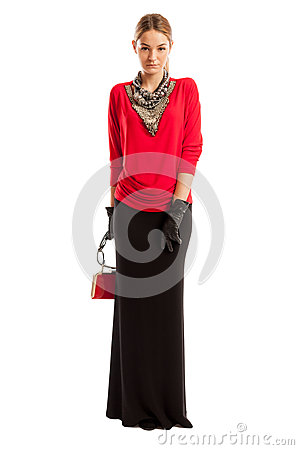 Free Young Female Model Wearing Red Blouse And Long Black Skirt Stock Photos - 49779943