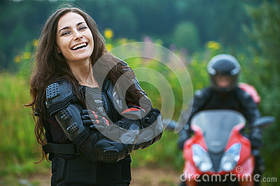 Young female motorcyclist