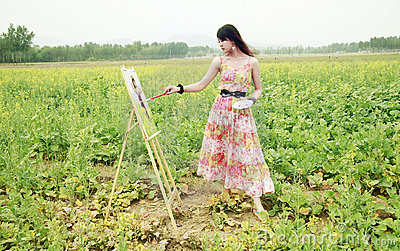 Young female painter