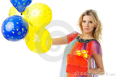 Young female with present and balloons