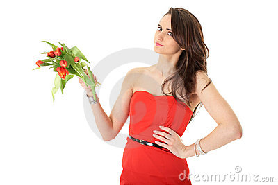 Young female with red tulip flowers, isolated