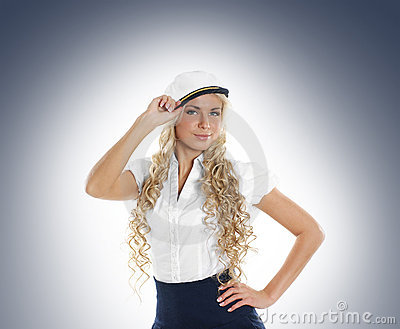 A young female sailor woman in a white clothes