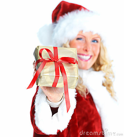 Young female Santa showing  a Christmas gift