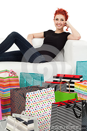 Young female and shopping bags