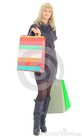 Young female with shopping bags