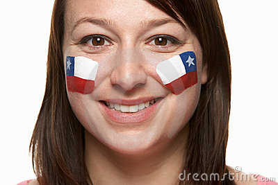 Young Female Sports Fan With Chilean Flag
