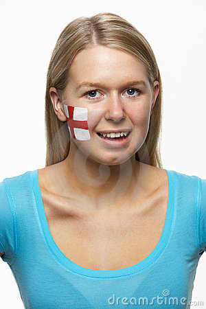Young Female Sports Fan With England Flag On Face