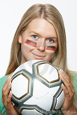 Young Female Sports Fan With German Flag