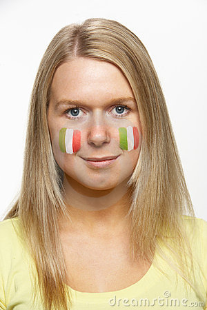 Young Female Sports Fan With Italian Flag