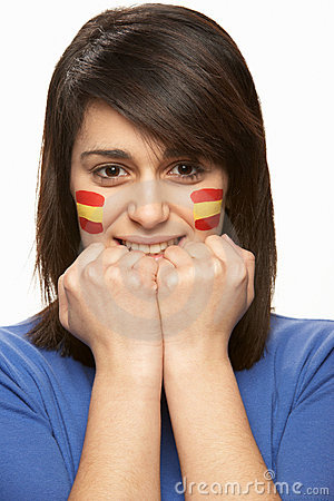 Young Female Sports Fan With Spanish Flag