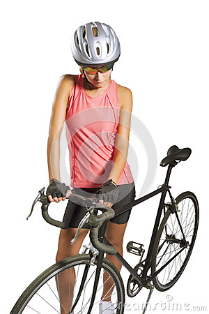 Young female sportswoman with old school singlespeed race bike.b