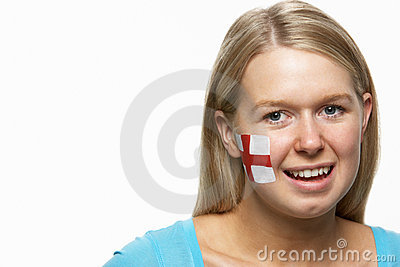 Young Female With St Georges Flag Painted On Face