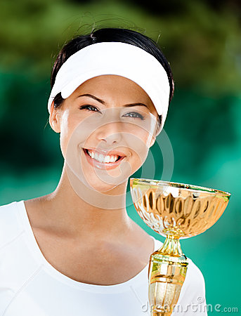 Young female tennis player won the competition