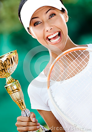 Young female tennis player won the match