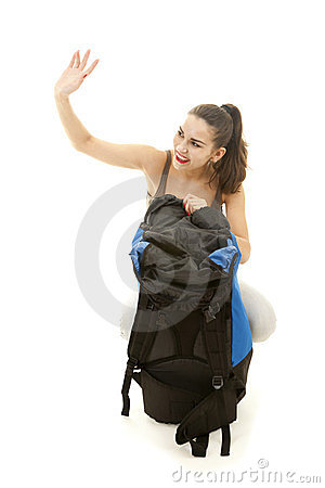 Young female tourist with backpack, wave hello