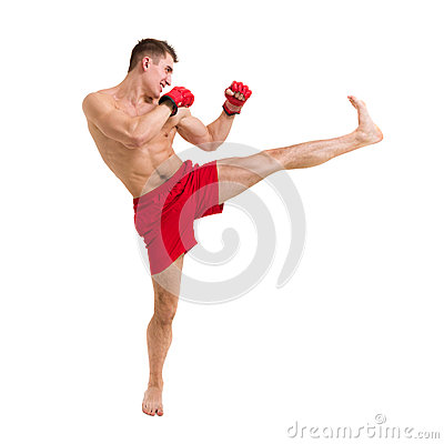 Young fighter exercising