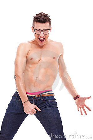 Young fit shirtless man wearing glasses