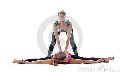 Young fitness trainer help for exercise yoga asana