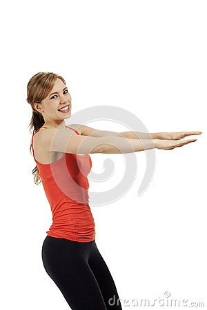 Young fitness woman exercising