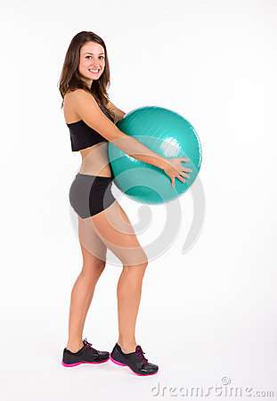 Young fitness woman isolated