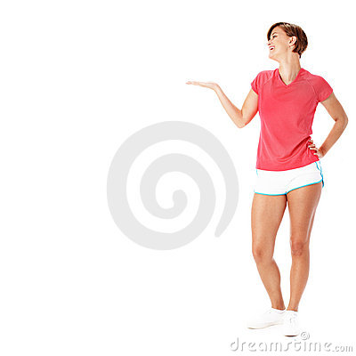 Young Fitness Woman in Red Shirt Presenting, Isola