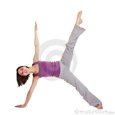 Young flexible woman stretching her