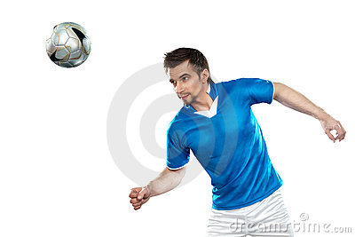 Young football player with ball on isolated backgr