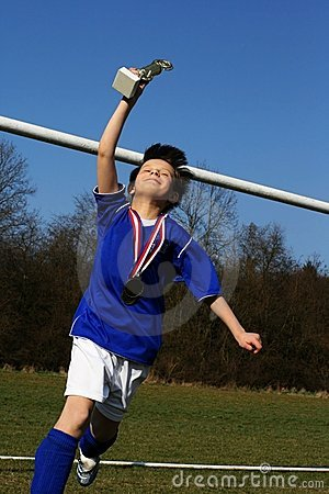 Free Young Footballer Has Triumph Stock Photo - 4761180