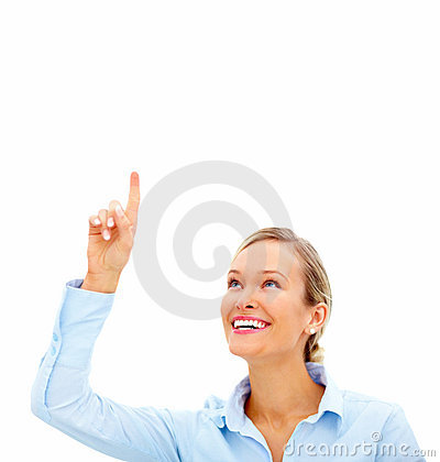 Young formal woman pointing up at copyspace