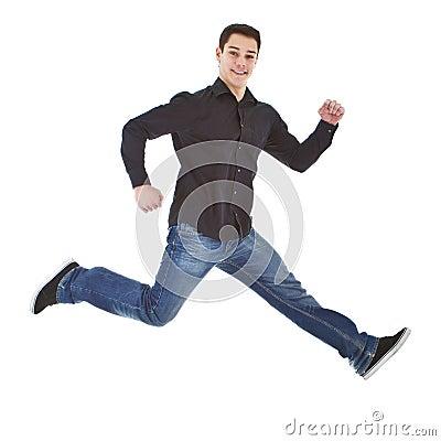 Young fresh happy man jumping