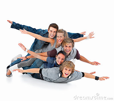 Young friends having fun on white background