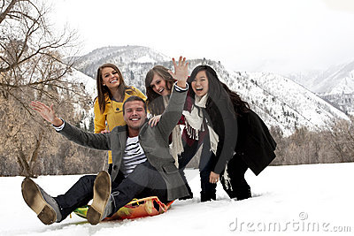 Young Friends Having Fun in Winter
