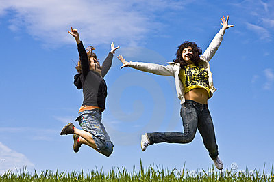 Young friends jumping