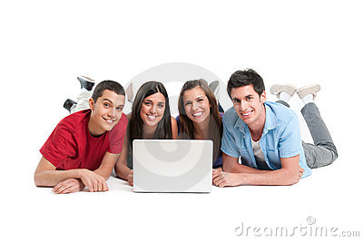 Young friends at laptop