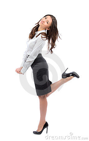 Young full body business woman