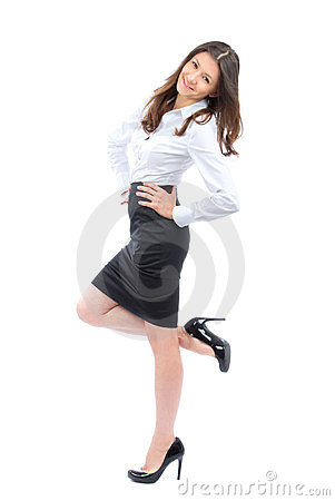 Young full body business woman smiling