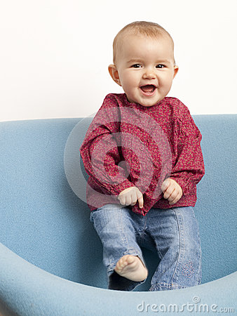 Free Young Giggling Baby Dancing Stock Image - 35895291