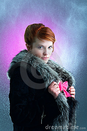 Free Young Ginger Lady Under The Rain Stock Photos - 13905383
