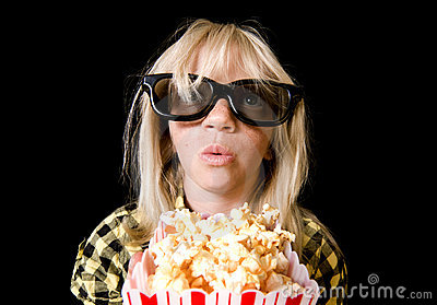 Young Girl at 3-D Movie