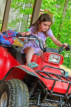 Young Girl on a 4-Wheeler ATV
