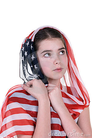 Young girl with American flag headdress scarf