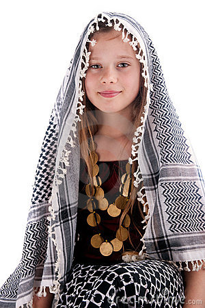 Young girl with arab shawl