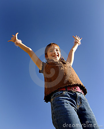 Young Girl with Arms Raised