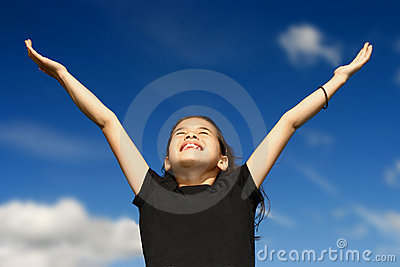 Young girl arms wide open