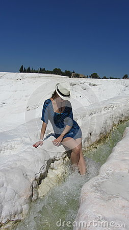 Free Young Girl At Pamukkale, Turkey Stock Photography - 95849582