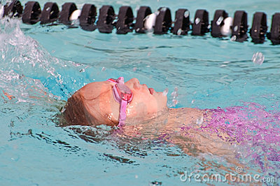 Young Girl /Backstroke in Pool